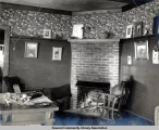 Study with fireplace, Seward, Alaska, ca. 1905-1915.