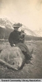 Woman with dog, Seward, Alaska, ca. 1905-1915.
