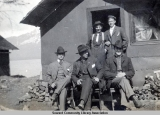 Five men in front of a house, Seward, Alaska, ca. 1905-1915.