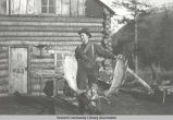 Woman with moose antlers, ca. 1910.