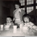 Children eating at the Jesse Lee Home, ca. 1946-1955.