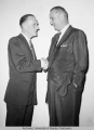 Ralph Rivers shaking hands with Lydon Johnson of Texas