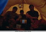 West, Hat, and Fire in their tent at Camp 2.
