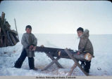 Two Native Alaskan boys saw wood.