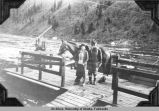 Ferry across Forty Mile [Fortymile] River at Steel [Steele] Creek, 1935.