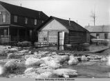 Ice chunks in the street left behind by the Fairbanks flood of 1911.
