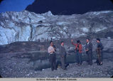 Group of people in front of Mendenhall Glacier.