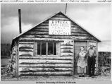 New roadhouse - Hilda Merrick & husband, Glenn Highway, Alaska.
