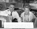 Ralph and Ida Savory in the cockpit of a Boeing 707.