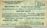 Ralph W. Savory's private pilot license No. 8105.