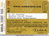 R. W. Savory's Annual Flight Pass No. C-168, Pan American World Airways, 1969.