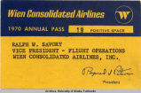 Ralf W. Savory's Wien Consolidated Airlines 1970 Annual Pass.