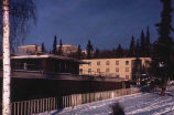 University of Alaska, Fairbanks, view of Lower Commons, Nerland Hall, and upper dorms. #1101.