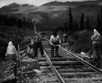 Women work crew on Alaska Railroad.