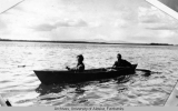 Mr. and Mrs. Jack Rice in a canoe