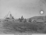 Scene in Ooglaamie, Tent with Natives at work