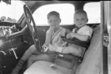 Two boys in the front seat of an automobile.
