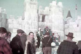 People in front of ice castle.