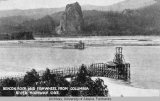 Beacon Rock and a fishwheel, Columbia River