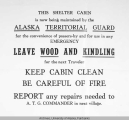 Alaska Territorial Guard shelter cabin sign