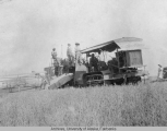 Combine and tractor used to harvest