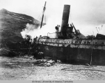 Ship hit in Jap [ Japanese ] attack on Dutch Harbor