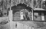 Fairbanks Station, 1917. Assistant W. T. White and his wife in front of their quarters at the...