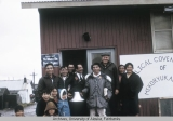 Group standing outside of the Evangelical Covenant Church, Mekoryuk