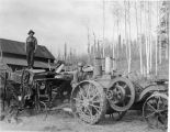 Fairbanks Station tractor and threshing machine ready for a move.