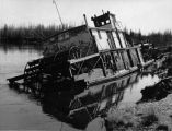Sternwheeler, Elaine-G stranded by Chena River flood, May 6, 1960.