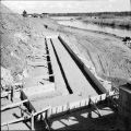 Forms for footing of abutment number 1 on North Slough Bridge. June, 1967.