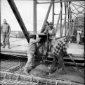 Pouring deck slab on span 3 of main bridge. June, 1967.