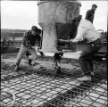 Pouring deck slab on North Slough Bridge. June, 1967.