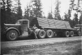 Delivering materials during Canol Highway construction.
