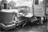 Alcan Highway 3165 truck damanged in a crash.