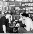 Roland Cox plays chess against Charlie Evans