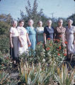Women at a flower garden.