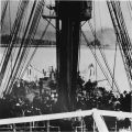 Completion ceremony on the cable ship, Burnside after completion of the Valdez-Sitka submarine...