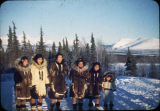 Eskimo grade school girls with Brooks Range in background at Shungnak.