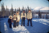 Local Shungnak Eskimo students with Brooks Range in background at Shungnak.