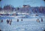 Football on Kobuk River below the school house at Shungnak.