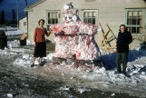 Barbara and Leah with snow Santa.