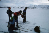 On 100 mile skiing trip from Yukon River to Bering Sea. Jerry Nicholas, Tommy Neglaska, Jake...