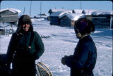 Iditarod in Kaltag. Uncle James Solomon and Japanese Iditarod musher.