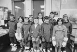 Kaltag school children dressed in Alaska Native clothes.