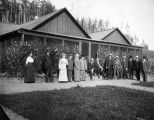 Eleven men and three women at the agricultural experiment station at the University of Alaska...