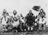 Four Eskimo Natives with sled reindeer. Four beauties of Cape Prince of Wales with sled reindeer...