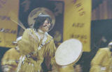 Performer playing a drum at the Festival of Native Arts, Fairbanks.