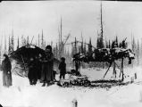Unidentified people in a winter camp, date unknown.