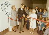 Mary Louise Rasmuson with Governor Tony Knowles at a museum ribbon cutting, circa 1990.